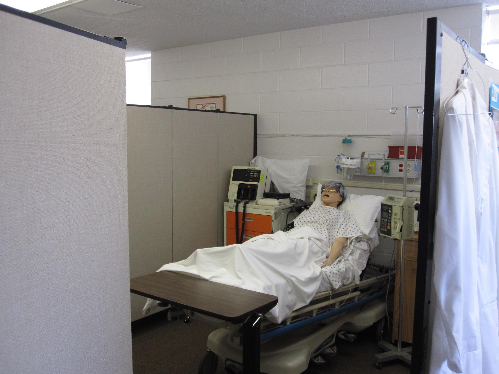 Room Divider Screens provide separation simulated hospital setting