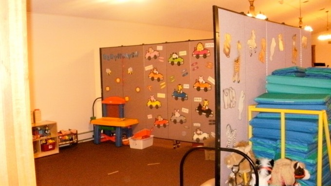 Daycare Center using Screen Dividers to make play area