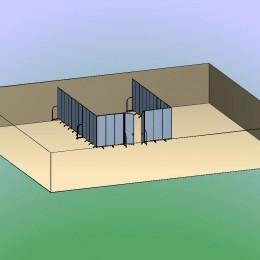 Double Door Divider Room 3D