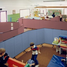 Portable, acoustical dividers can set up in any configuration at any time
