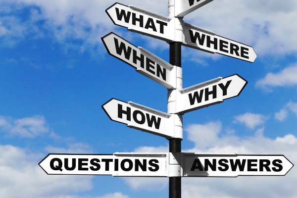 Sign post with frequently asked questions on each sign