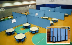Blue Room dividers closed and nestled together in an inset of room dividers set up in a gym to create 8 rooms