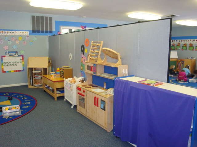 Daycare room separated with room dividers