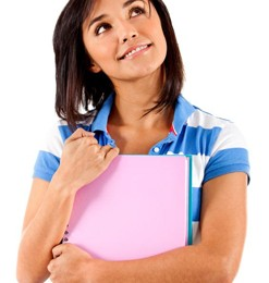 A teen student holding a folder thinking