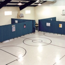 Room Dividers create several ministry rooms in a gymnasium