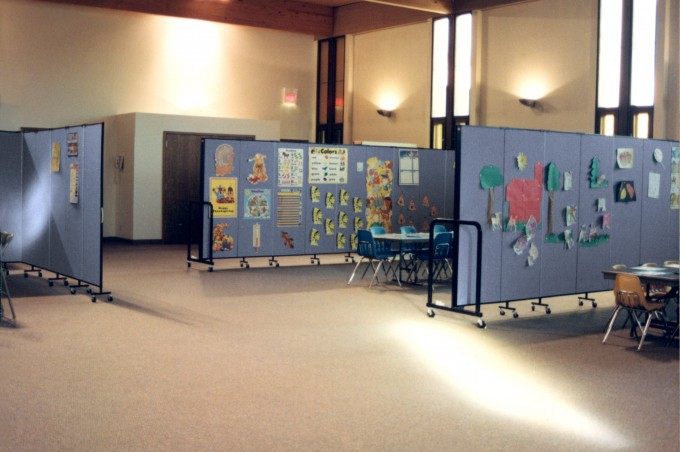 Portable Dividers Organize This Parish Daycare Room