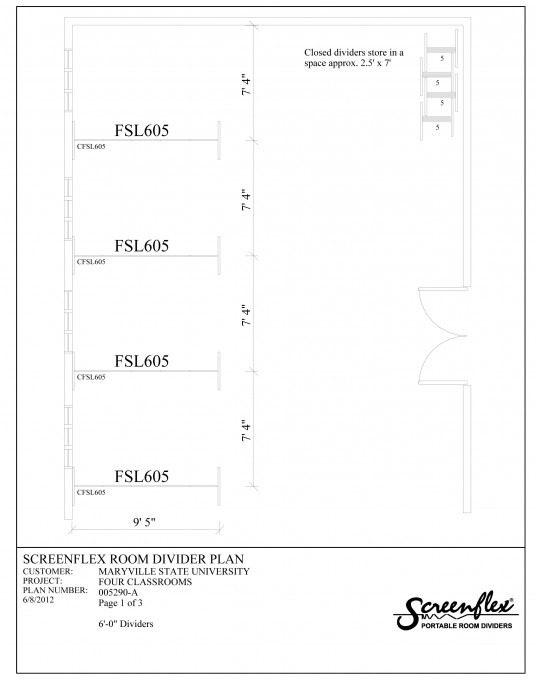 Floor plan using classroom room dividers