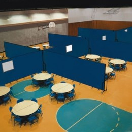 Room Dividers create 8 u shaped rooms in a gym