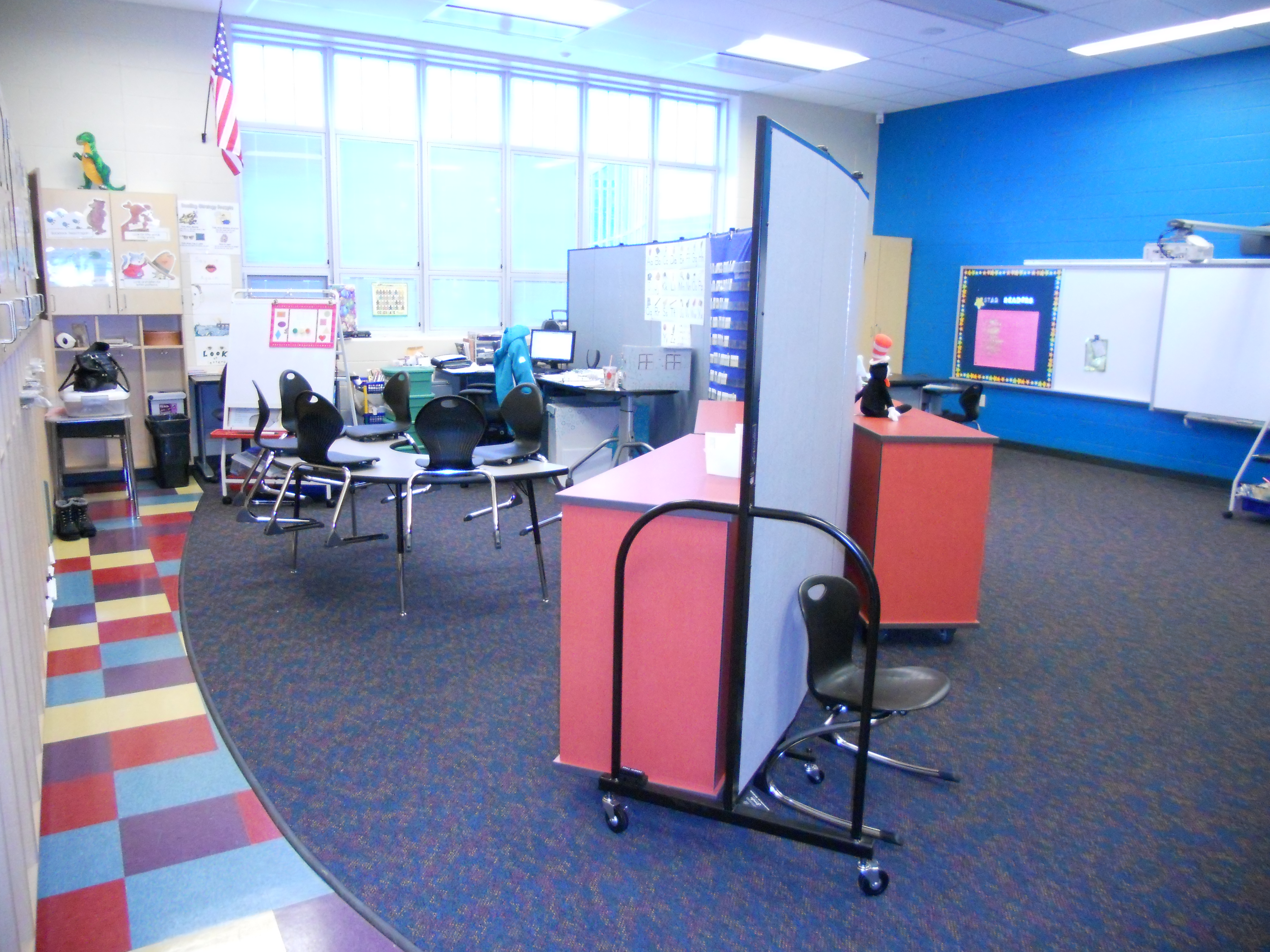 Classroom divided into two instructional areas with a Screenflex Room Divider