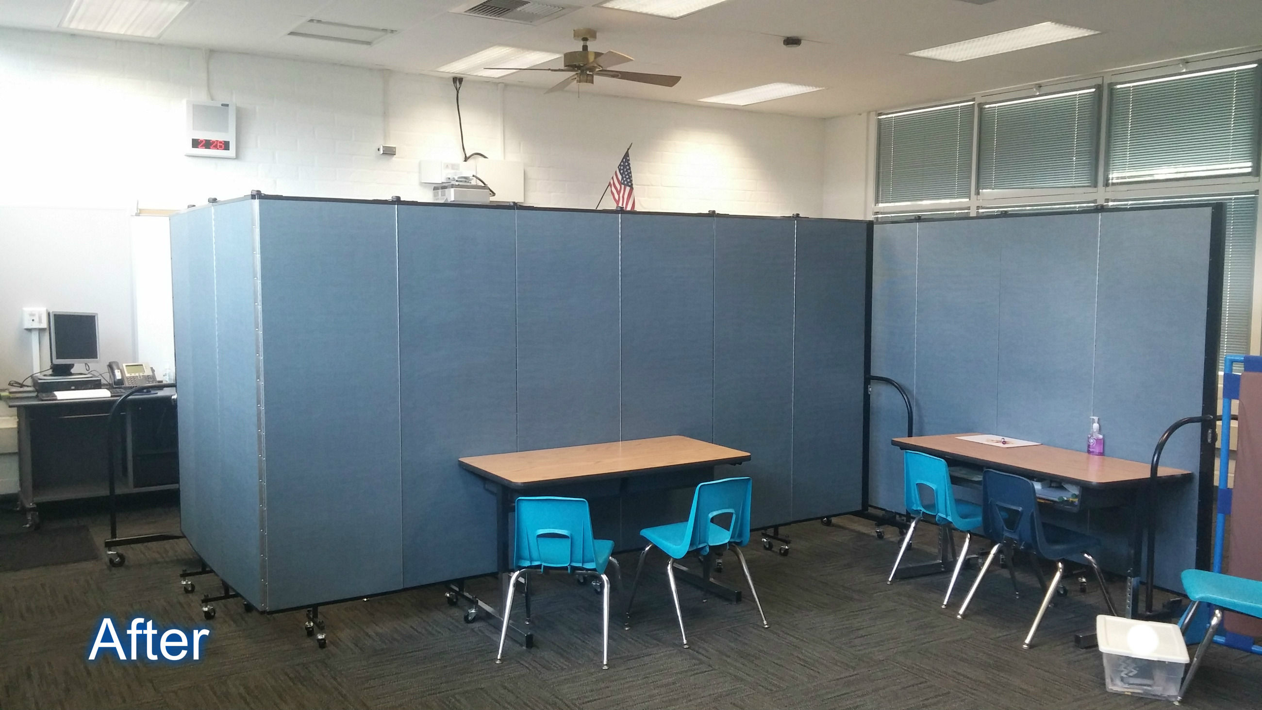 Screenflex training room walls create privacy in a classrom