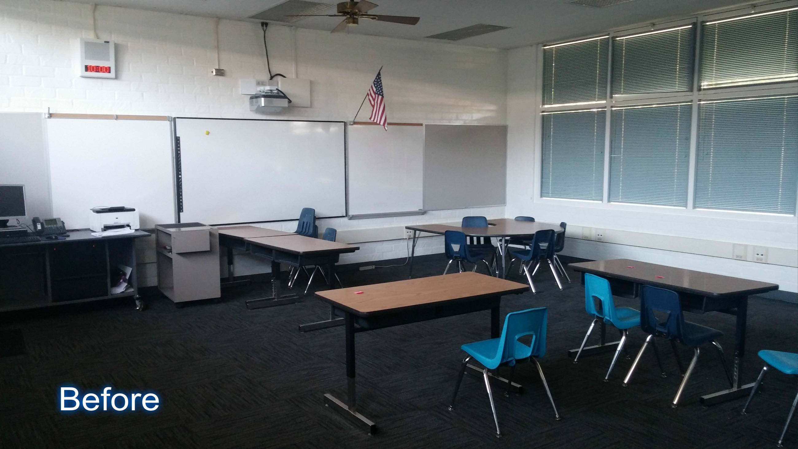 A classroom before using freestanding partitions to create privacy