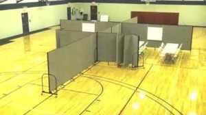 Room Dividers create 6 rooms in a large gym.