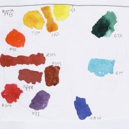 Paint pallet of potential classroom paint colors.