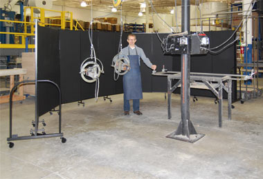 Welding Screens Wrapped Around Spot Welding Area