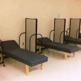 portable walls between beds in school nurse's office