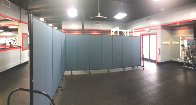A room divider splits a classroom into two rooms at the Younts Fitness Center at North Greenville University