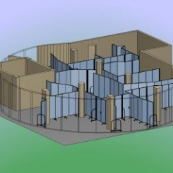An illustration of an odd shaped classroom dissected into smaller classrooms with the help of blue portable walls