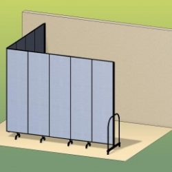 An illustration of a blue room divider extending from a wall to form an L-shape