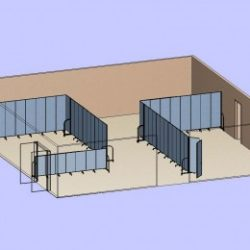 A diagram of two sets of room dividers used to create two classrooms on opposite sides of a large room