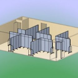 6 blue room dividers each formed into an L-shape to create several classrooms within one large room