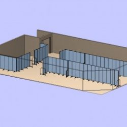 An illustration of a large room divided by two long, straight portable partitions on the right side of the large room and two dividers form a square classroom on the left side of the room