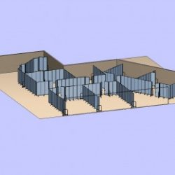 Large space transformed with portable partitions into smaller classrooms