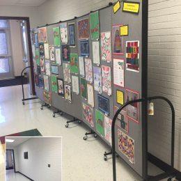 Art display panels for school in a hallway