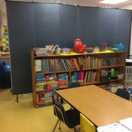 A light duty divider separated a small classroom into two rooms