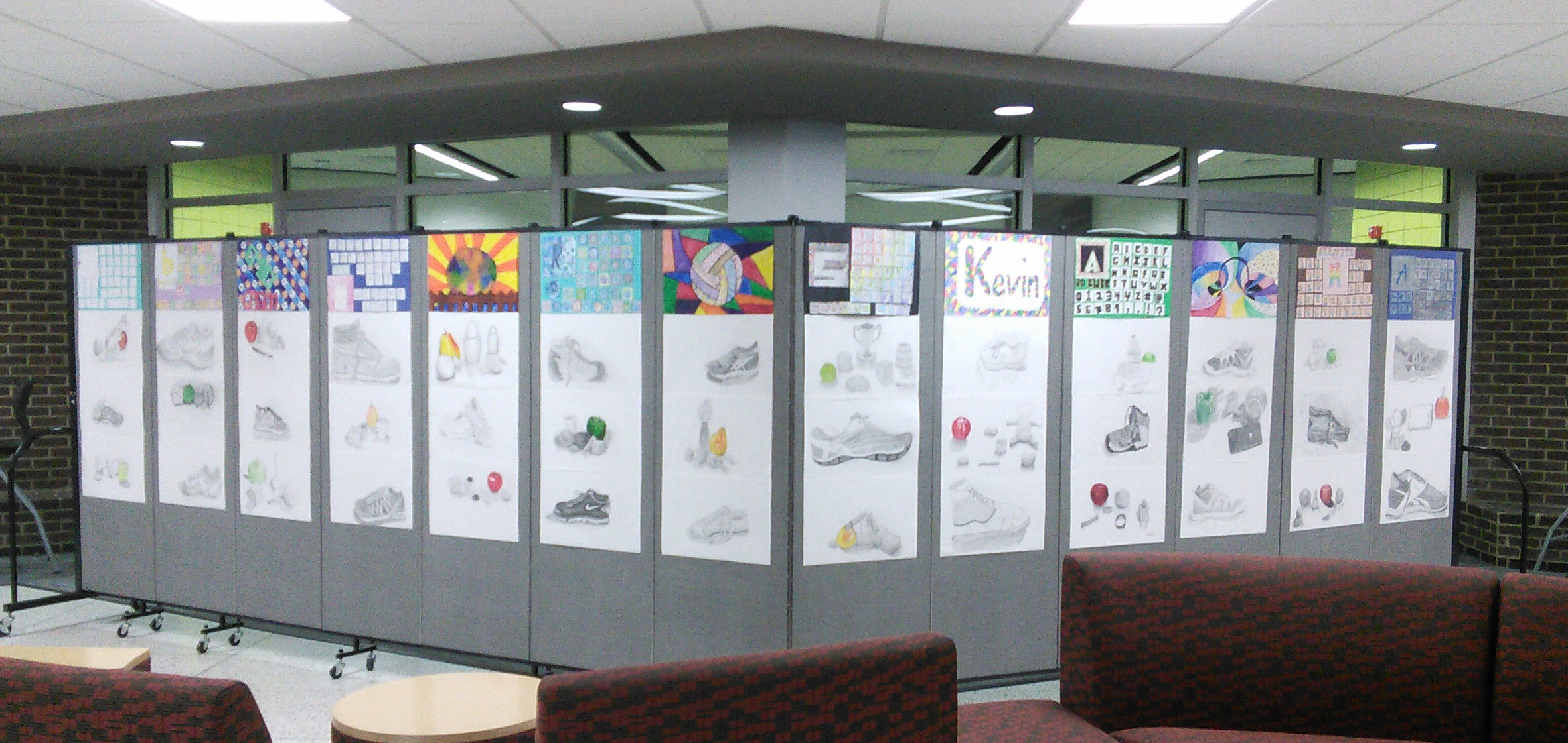Middle school art display walls