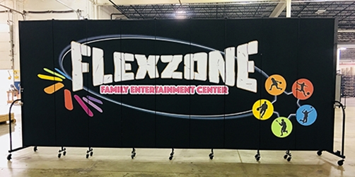 Flexzone and sports icons printed on a black divider