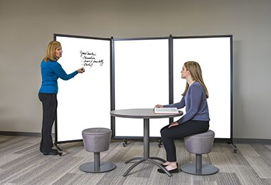 A rolling whiteboard creates a portable classroom in minutes