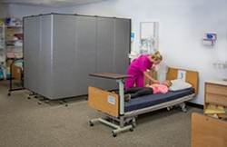 Screenflex school dividers sizes adapt to this healthcare space