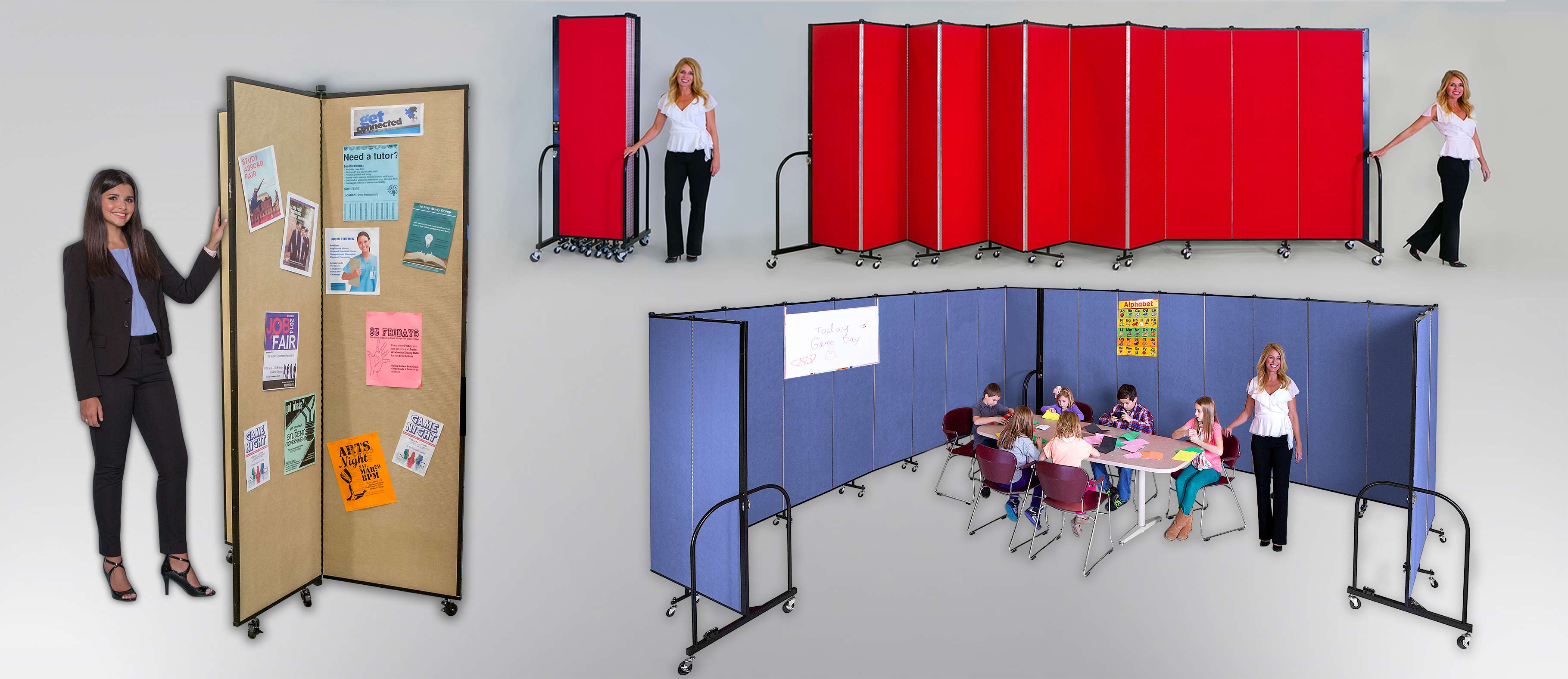 Display tower, school room divider, versatile and portable school room dividers